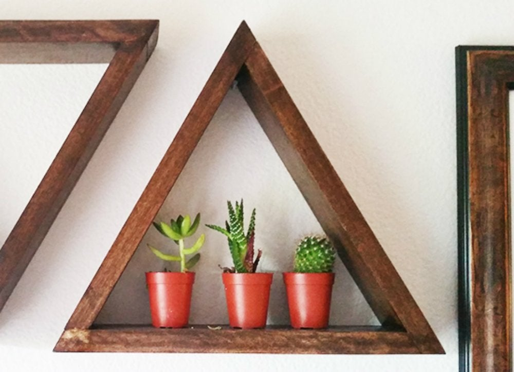 Diy geometric wall shelf