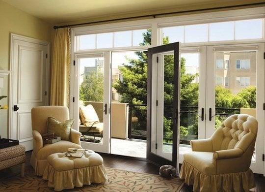Patio doors with lites above