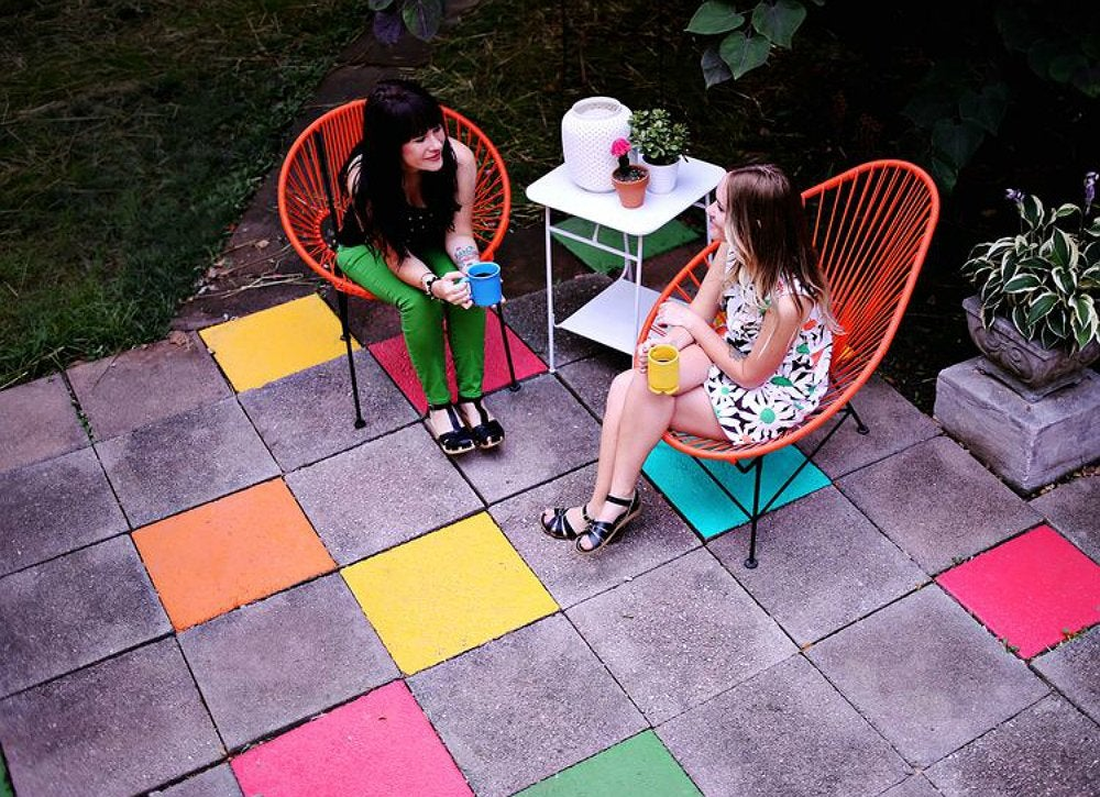 Painted patio stones