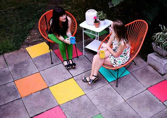 Painted patio stones