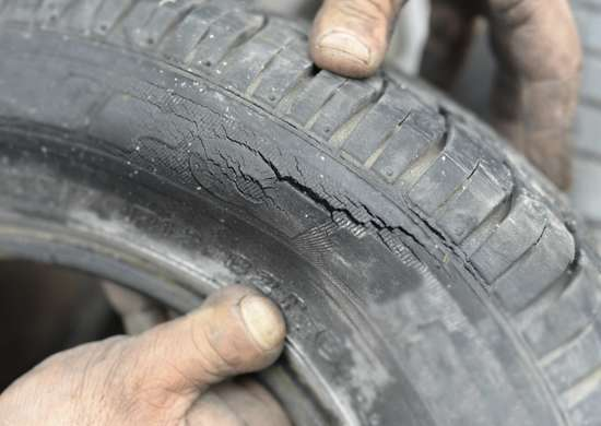 Worn bike or car tires