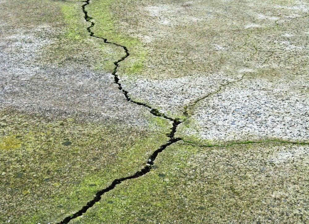 Concrete walkway crack