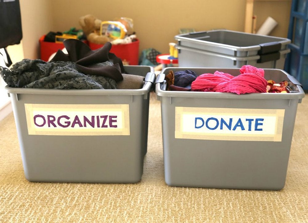 Declutter organize donate extra stuff