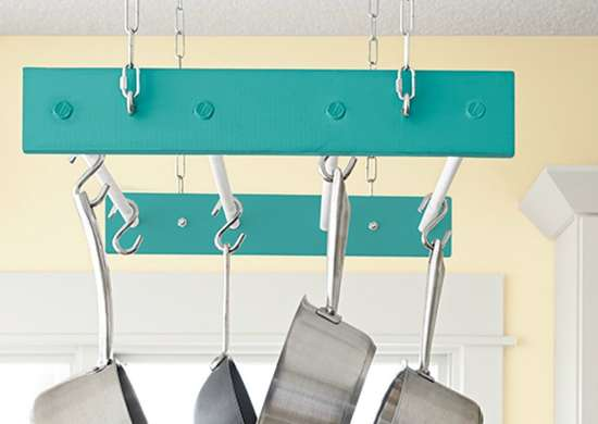 Diy hanging pot rack