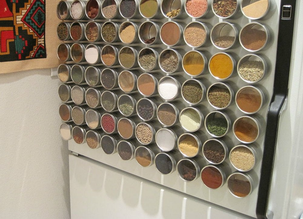 Magnetic fridge spice storage