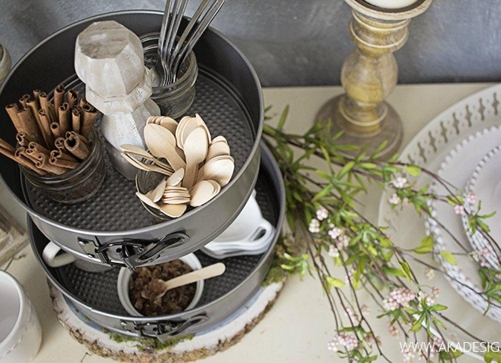 Diy cake pan kitchen storage organizer