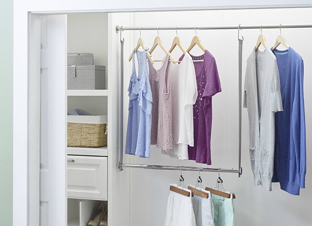Diy hanging closet rod double