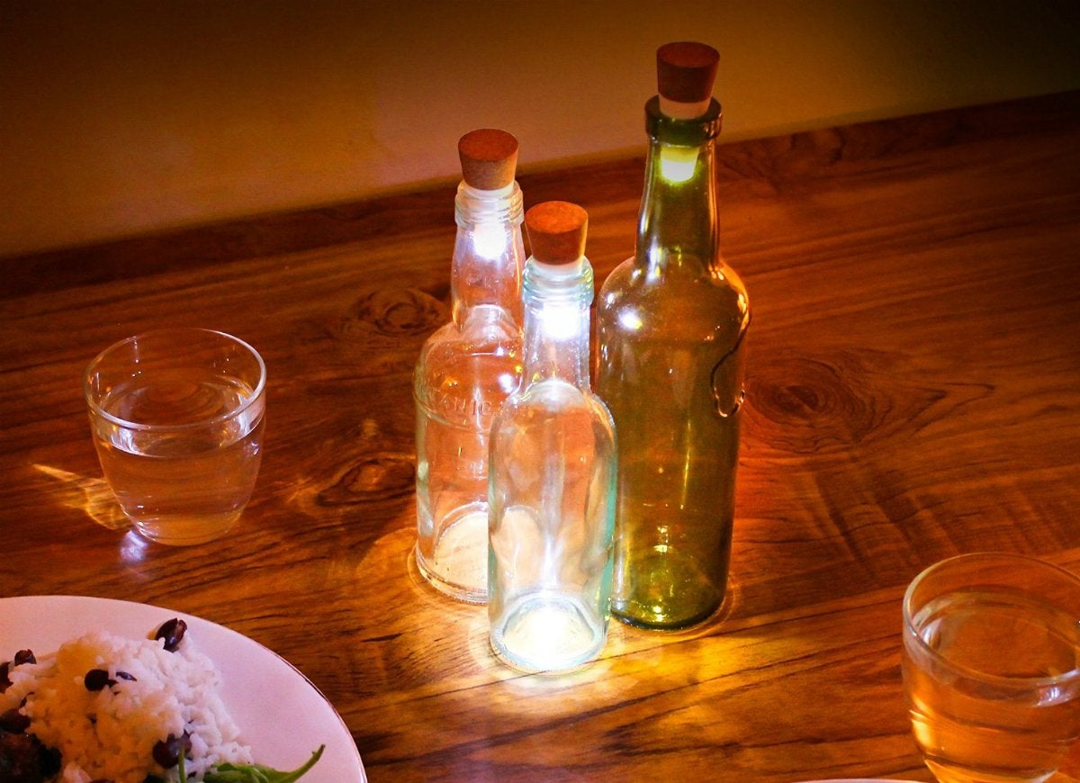 Led rechargeable cork bottle light