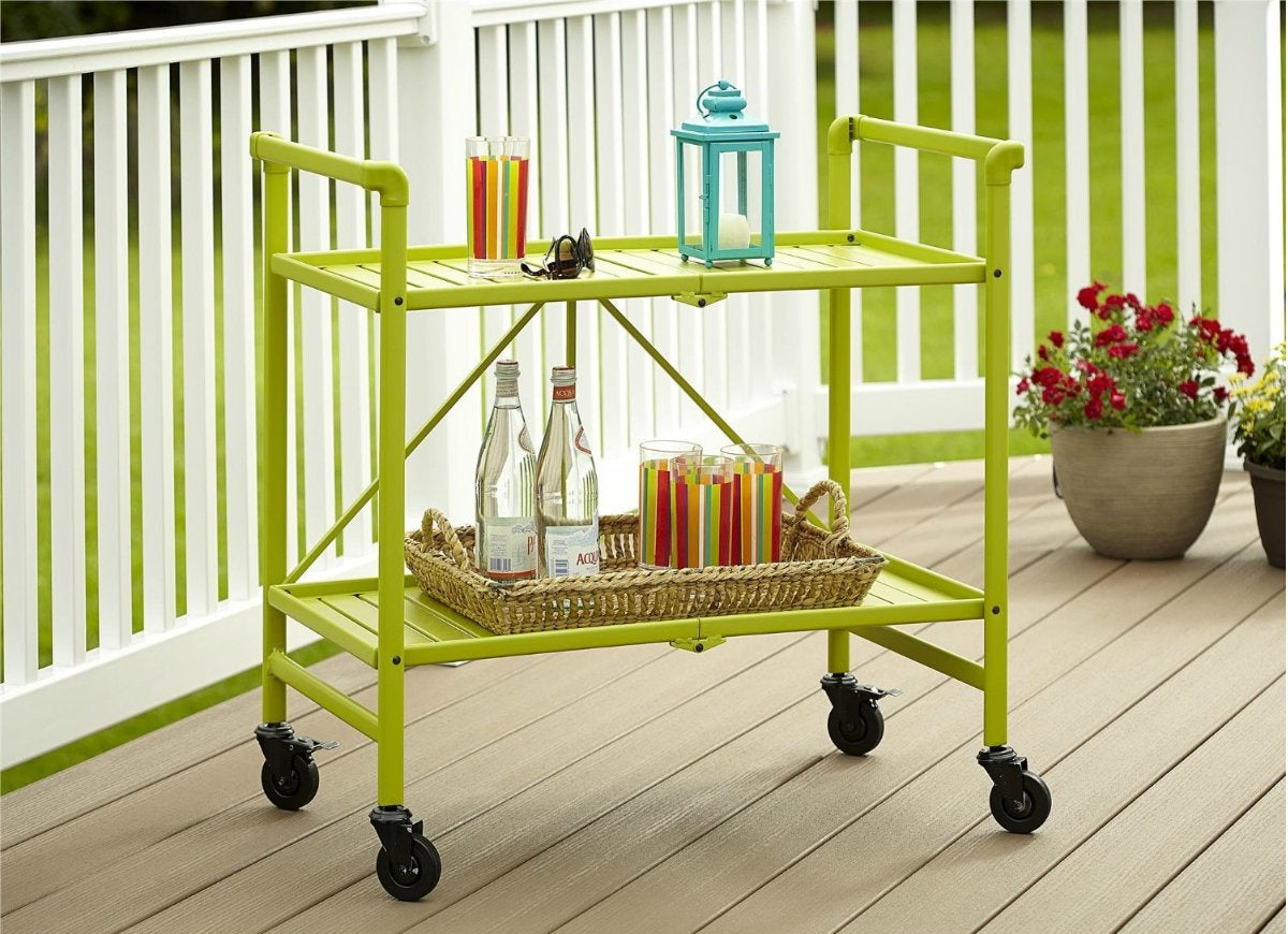 Green indoor outdoor rolling cart