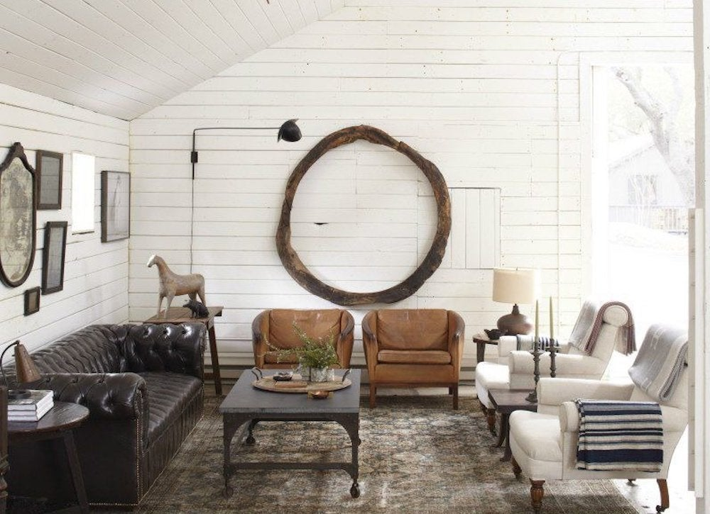 Rustic white living room