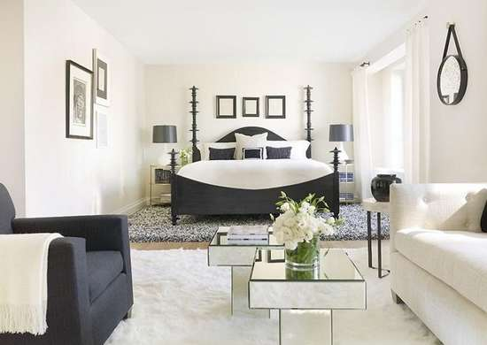 Black accent master bedroom