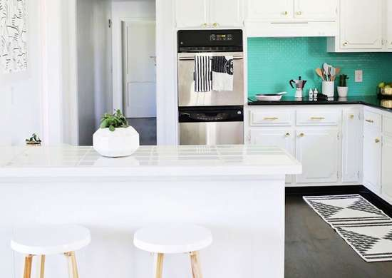 White and Teal Kitchen
