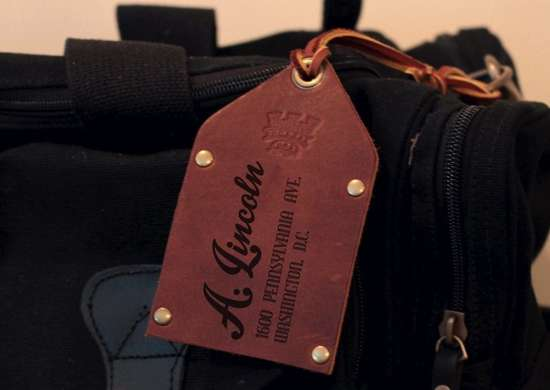 Custom leather luggage tag