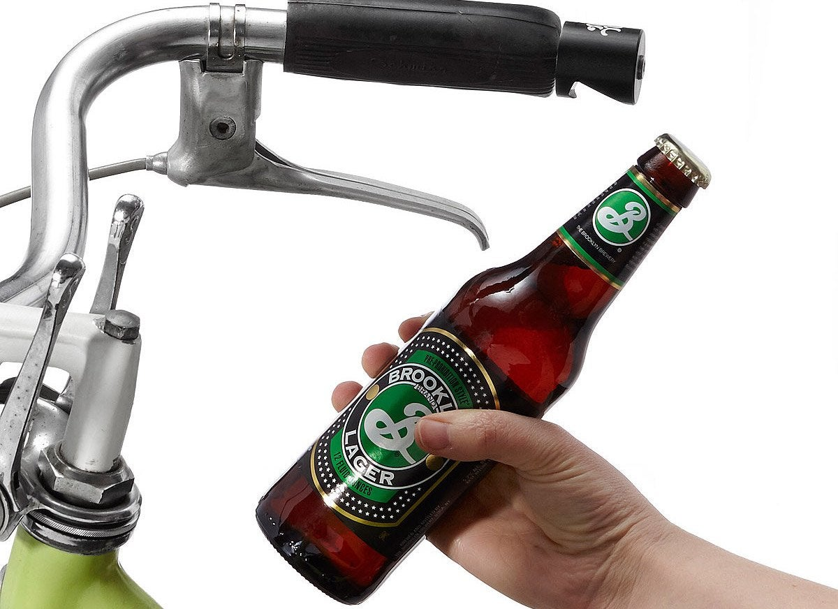 Beer opener bike handle