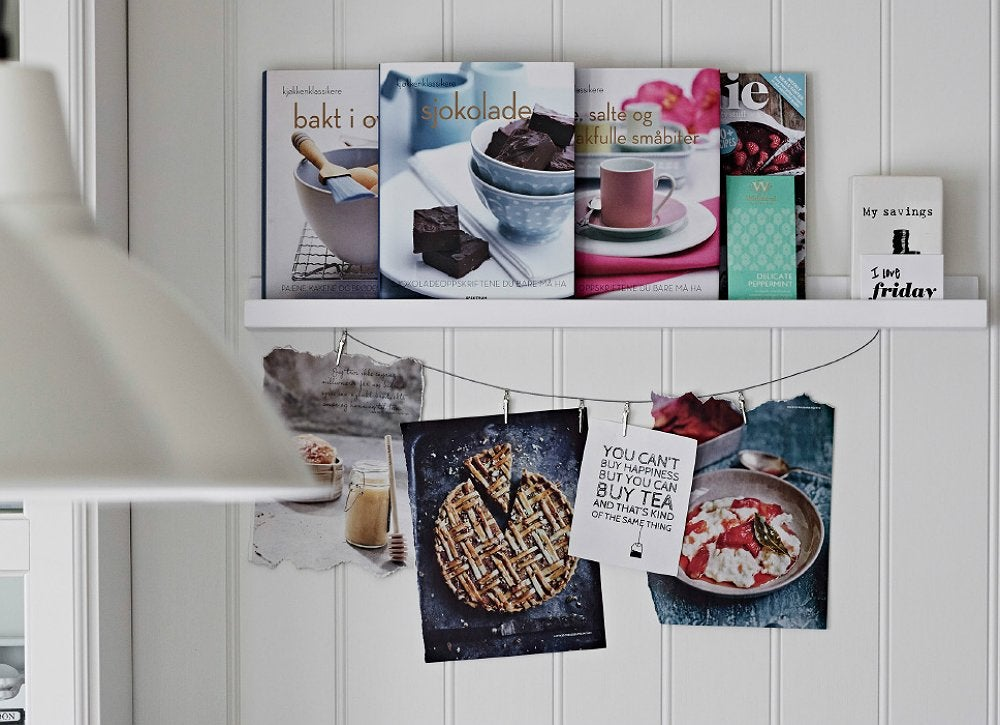 How To Organize Your Kitchen 21: Store Your Recipe Books On A Picture Ledge