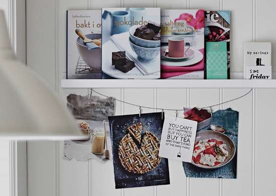 Picture ledge recipe book storage
