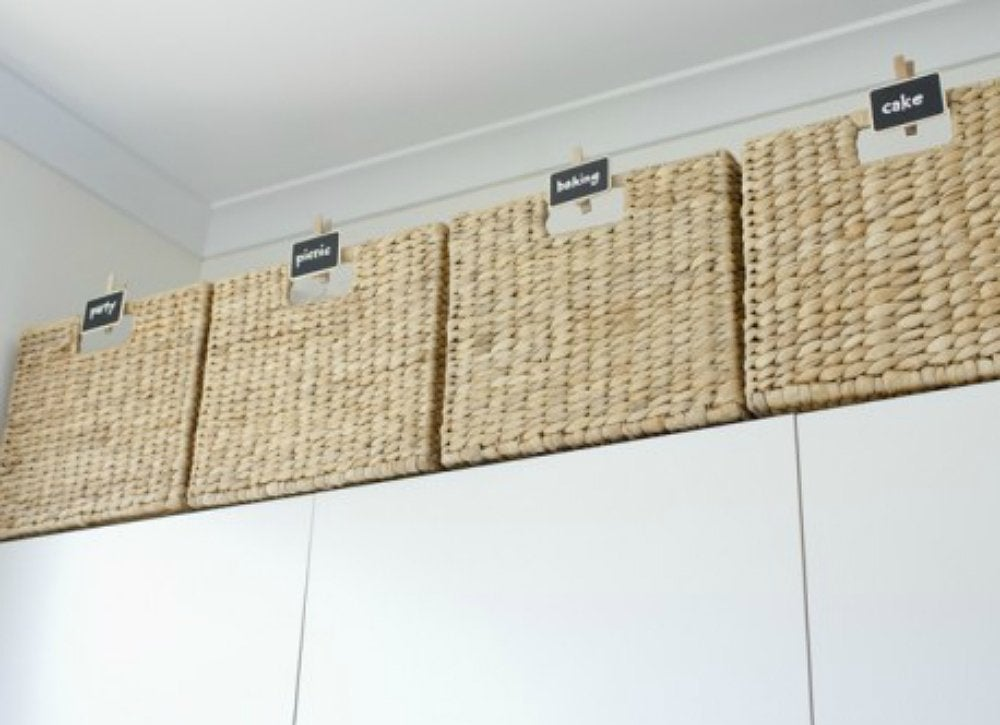 Basket storage above kitchen cabinets