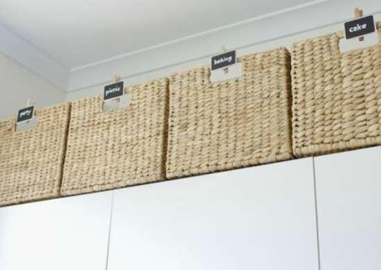 Basket storage above kitchen cabinets