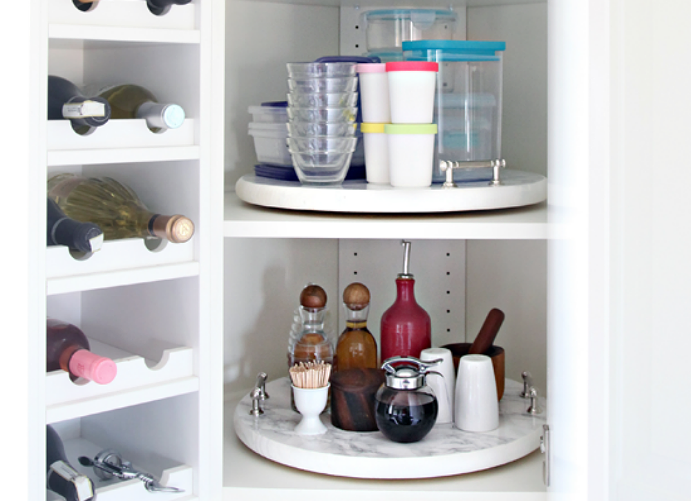 Diy lazy susan inside kitchen cabinet