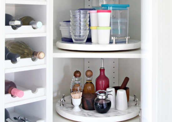 Diy lazy susan inside kitchen cabinet