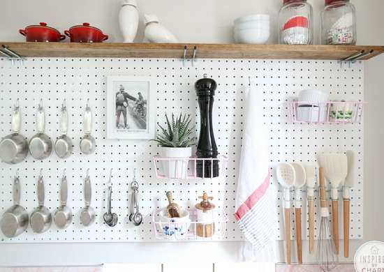 DIY Kitchen Pegboard Storage