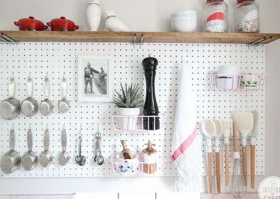 Diy kitchen pegboard storage