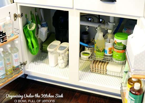 Organize Under the Sink with Tension Rods and Hooks