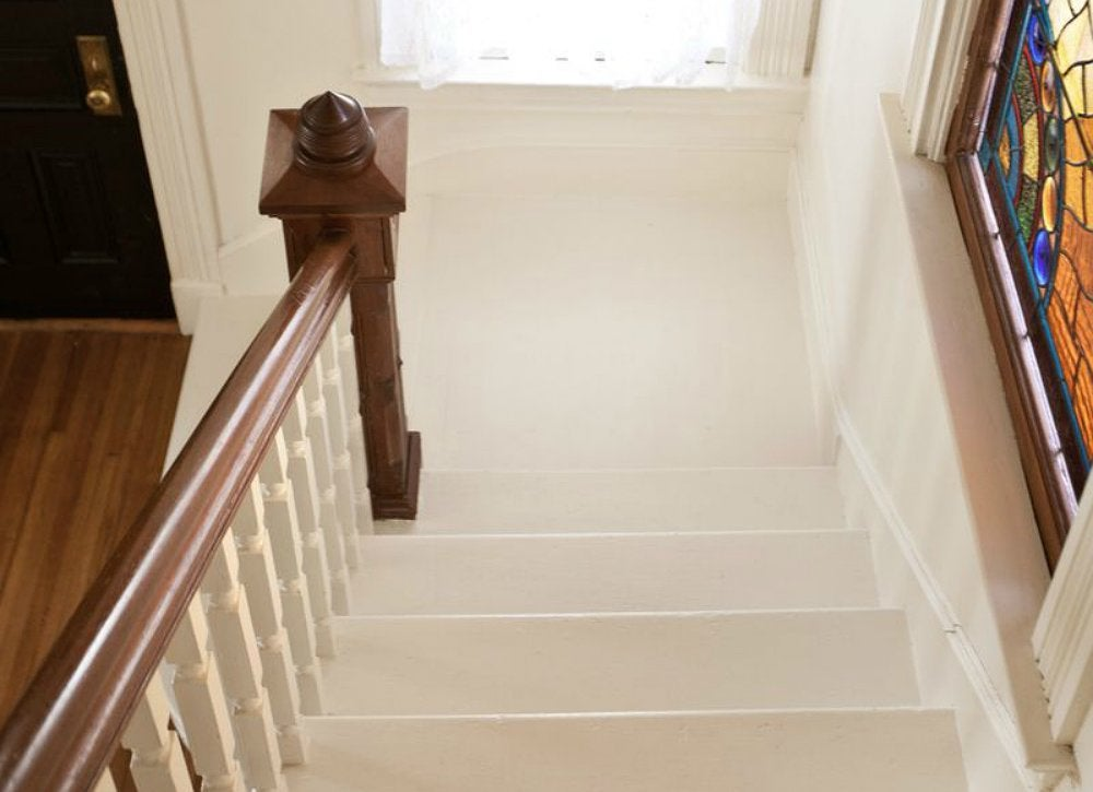 Bright white painted staircase