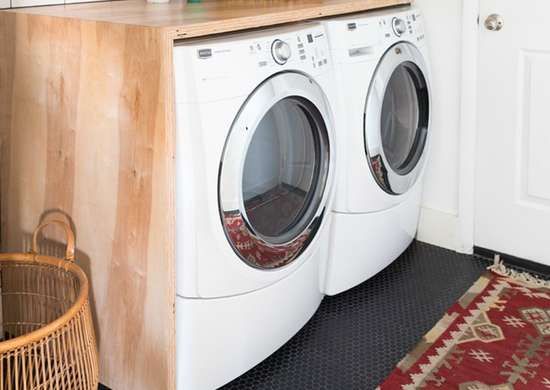 Diy laundry room countertop  storage