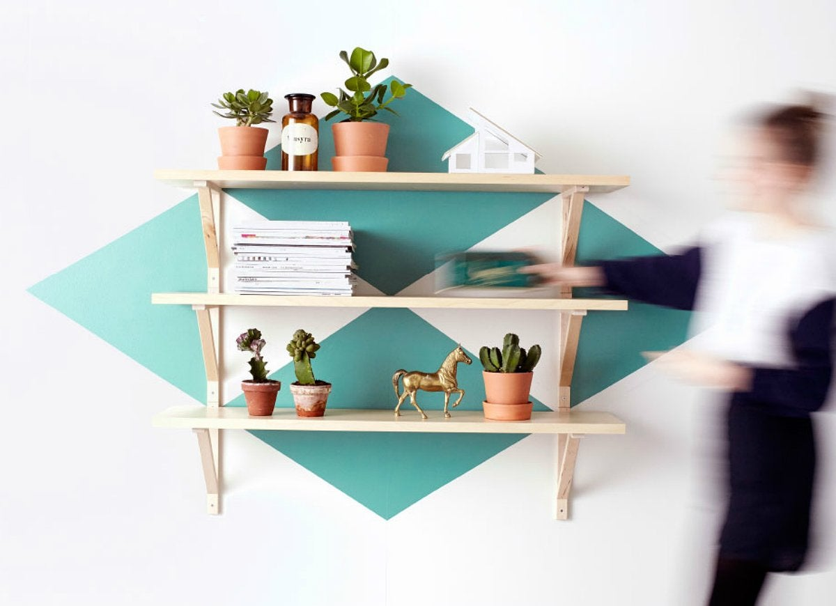 Painted accent shelf