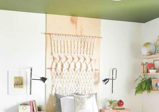 Diy painted bedroom ceiling
