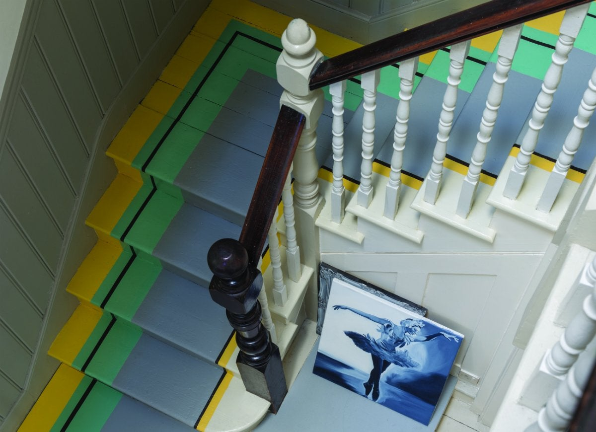 Painted striped staircase