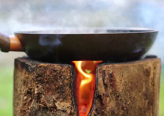 Make a Swedish Log Campfire