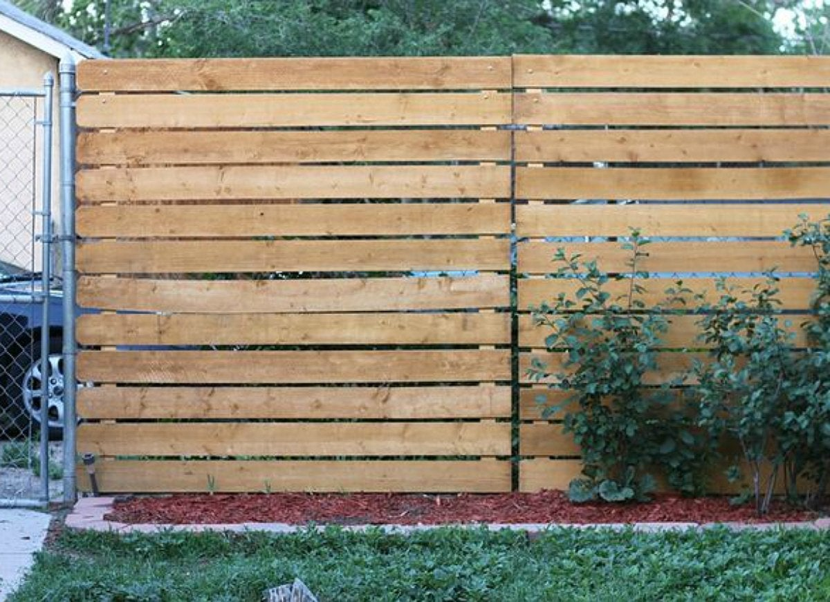 Diy wood privacy chain link fence