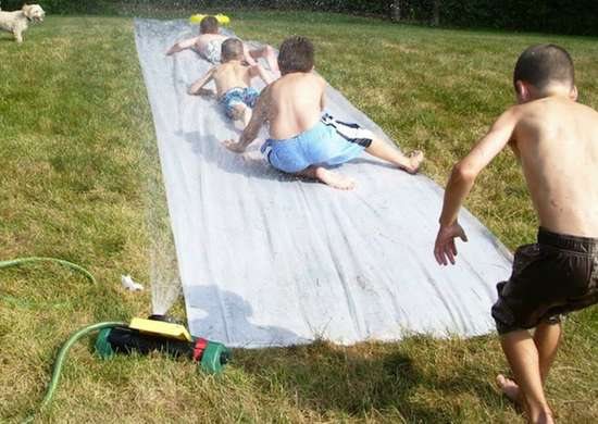 DIY Backyard Slip 'n Slide