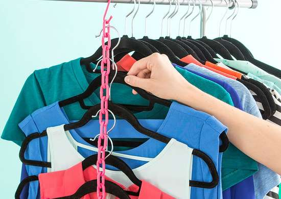 Use plastic chains to fit more clothes in closet