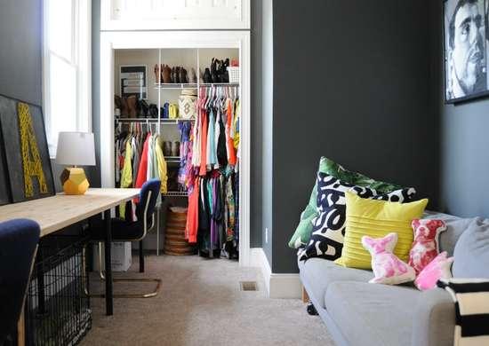 Track shelving small closet