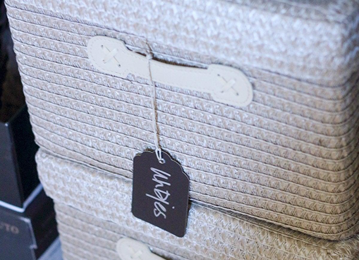 Label closed storage bins baskets