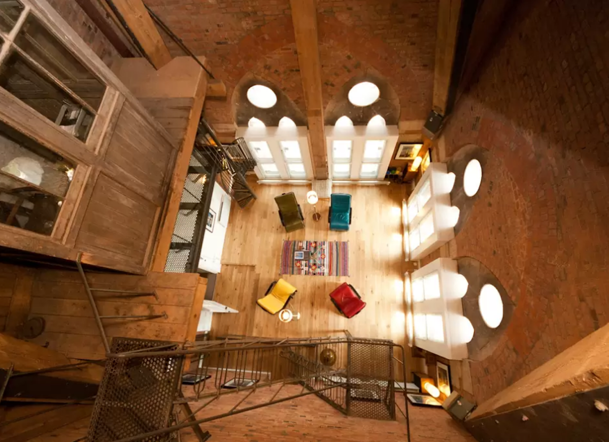Converted clock tower airbnb