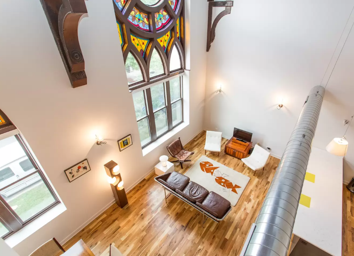 Converted gothic church airbnb