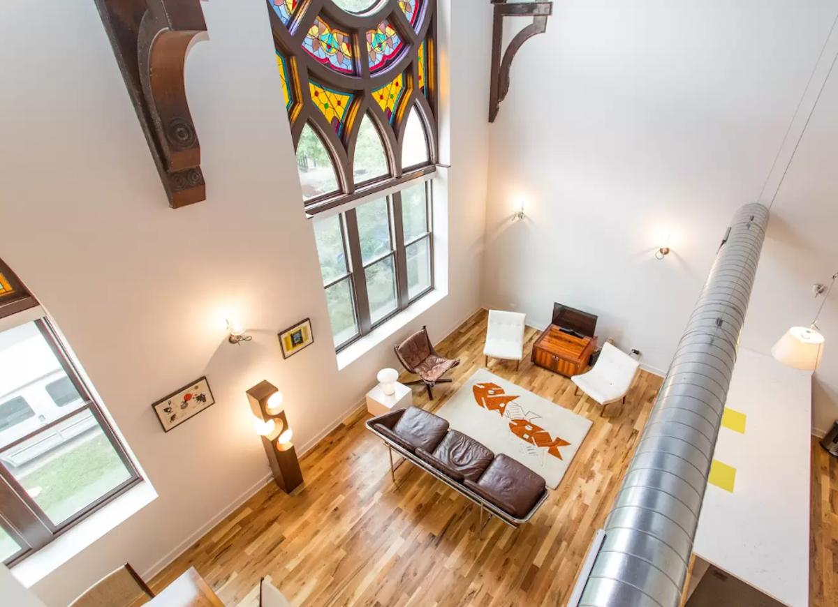 Converted gothic church airbnb