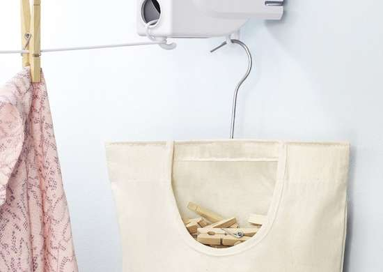 Clothes line and clothespin bag
