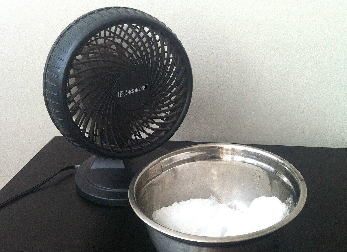 Use-a-fan-and-bowl-of-ice-for-cooler-air