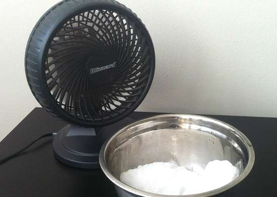 Use a fan and bowl of ice for cooler air