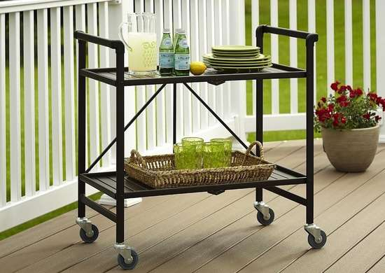 Indoor/Outdoor Folding Rolling Serving Cart