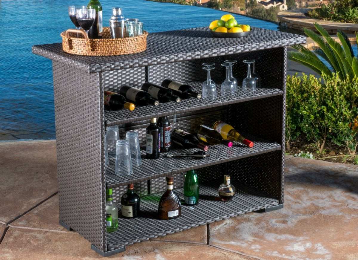 Christopher knight home outdoor trinidad wicker bar