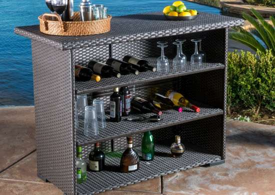 Christian Knight Home Outdoor Trinidad Wicker Bar