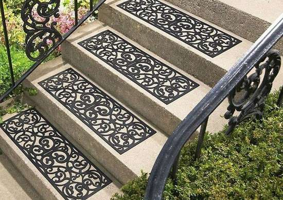 C&E Rubber Patterned Stair Tread Set