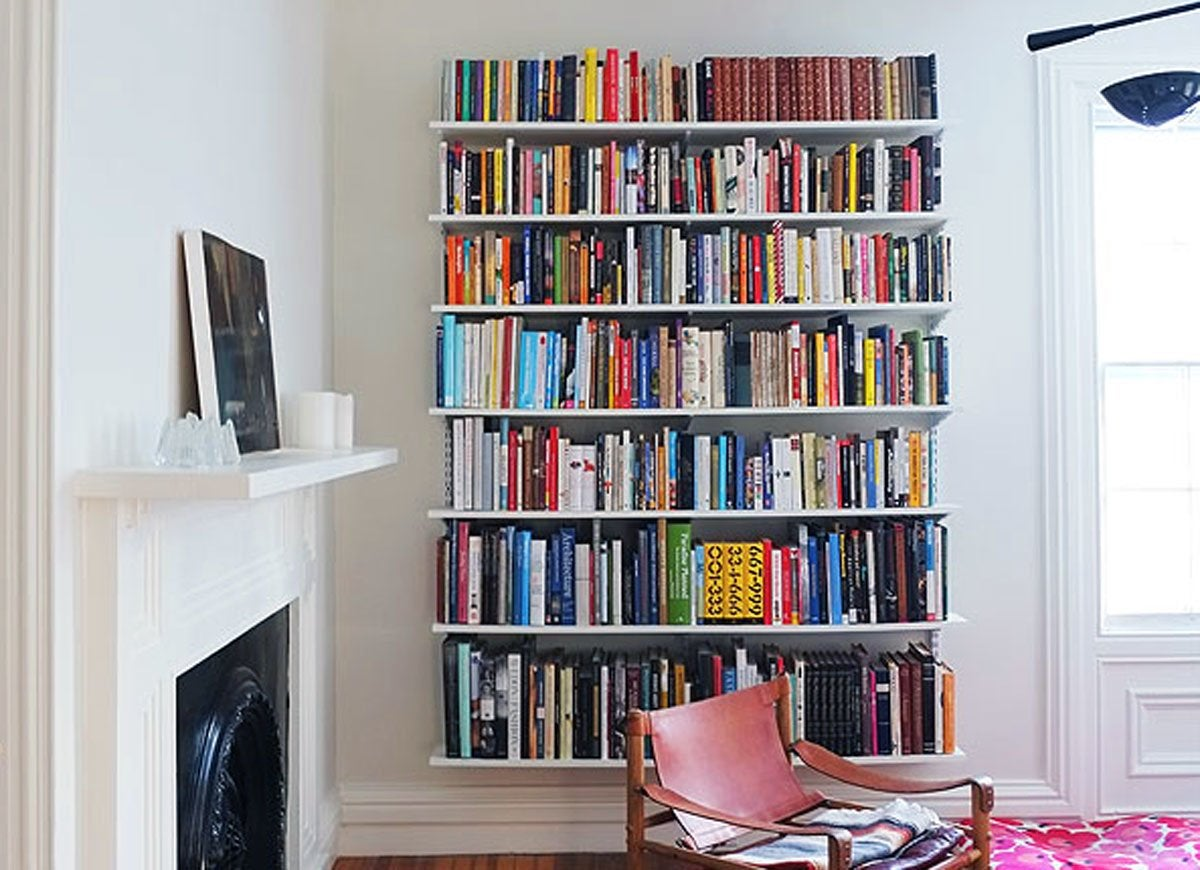 Wall Hanging Bookshelves wall-mounted book shelves - room remodel - 15 you can do in a day