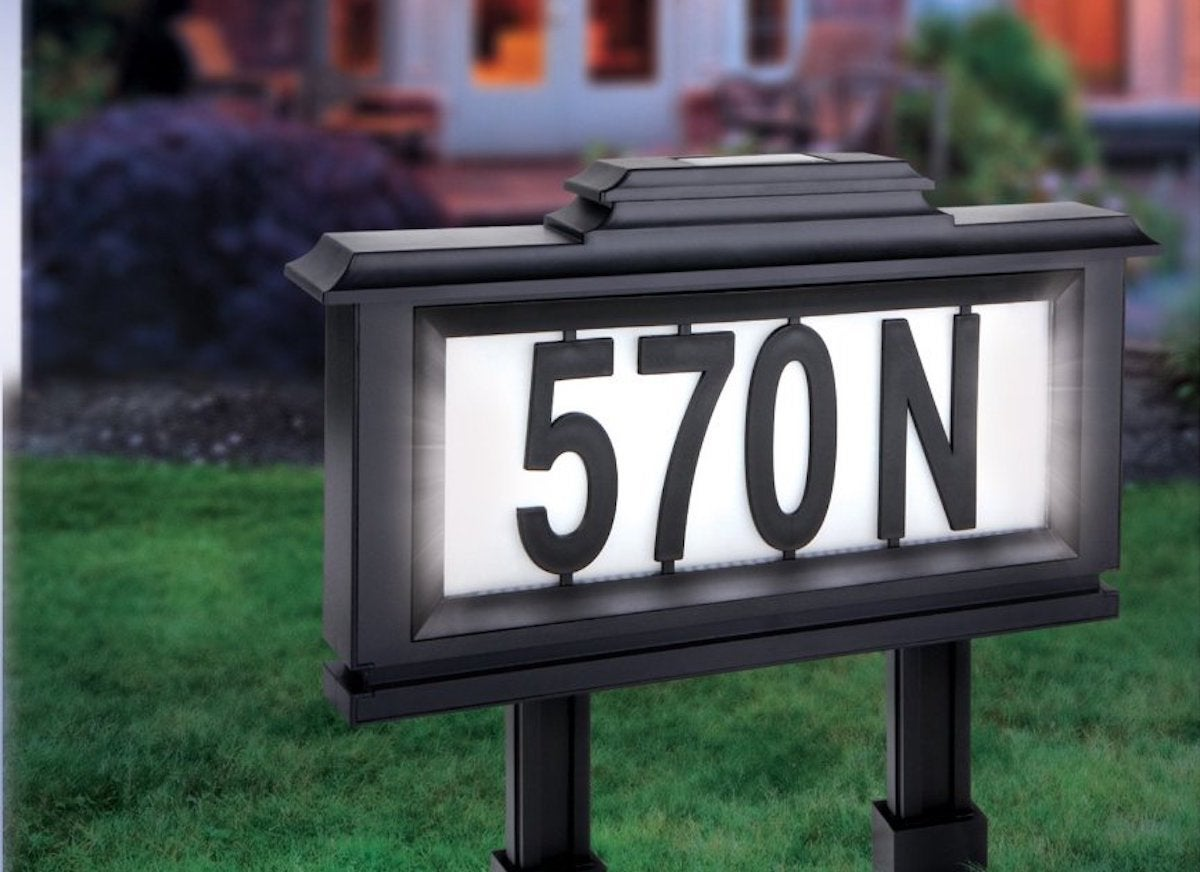 Solar light address plaque
